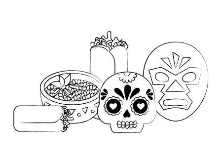 worstelaar masker en suiker schedel met Mexicaans eten op witte achtergrond, vectorillustratie