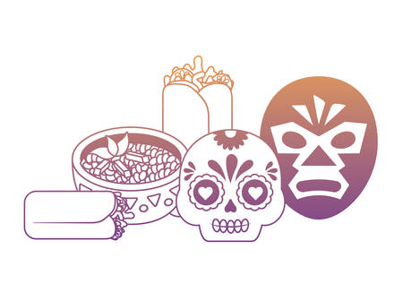 wrestler mask and sugar skull with mexican food over white background, vector illustration Illustration