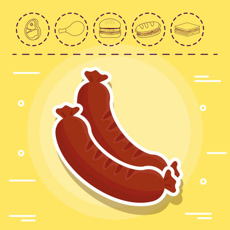 sausages and picnic related icons over yellow background, colorful design. vector illustration