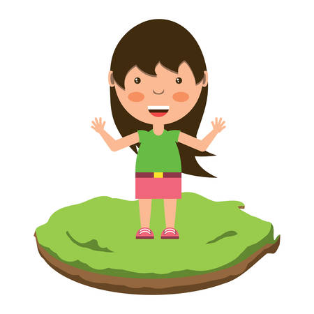 cartoon girl in the grass over white background, colorful design. vector illustration