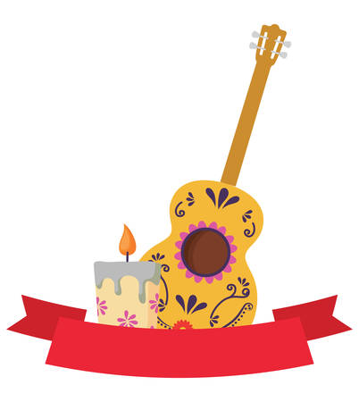 decorative ribbon with guitar and candle over white background, colorful design. vector illustration