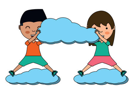 cartoon happy kids playing with a cloud over white background, colorful design. vector illustration Ilustração