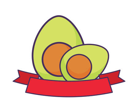 avocados and decorative ribbon over white background, vector illustration Ilustração