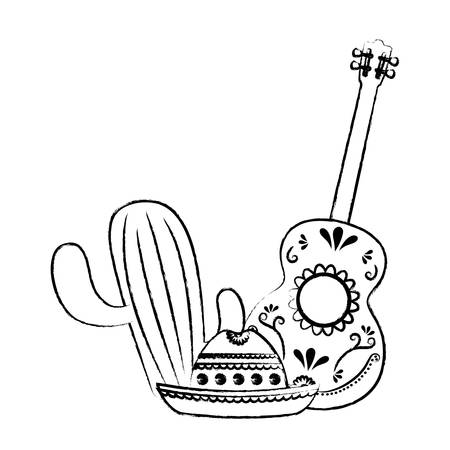 mexican hat with cactus and guitar over white background, vector illustration
