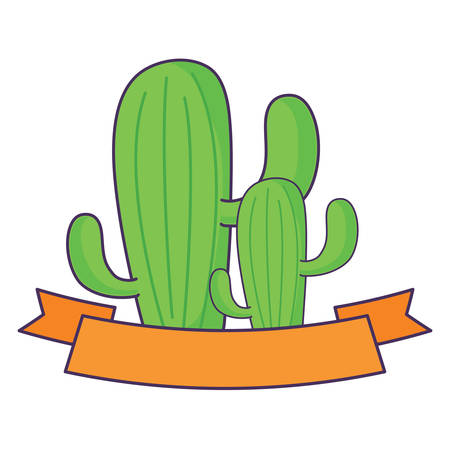 decorative ribbon with cactus over white background, colorful design. vector illustration Illustration