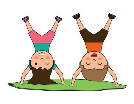 cartoon happy kids standing upside down in the grass over white background, vector illustration Illustration