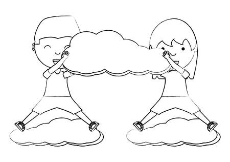 cartoon happy kids playing with a cloud over white background, vector illustration