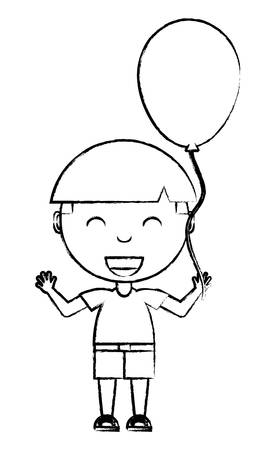 cartoon boy with a balloon over white background, vector illustration