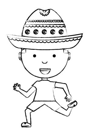 cartoon boy with mexican hat over white background, vector illustration Illustration