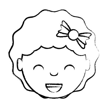 cartoon happy girl with decorative hair accessory over white background, vector illustration Ilustração