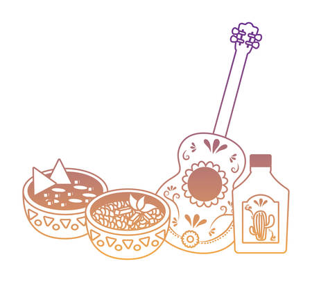 mexican food with guitar and tequila bottle over white background, vector illustration
