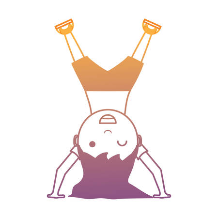 cartoon girl standing upside down over white background, colorful design. vector illustration