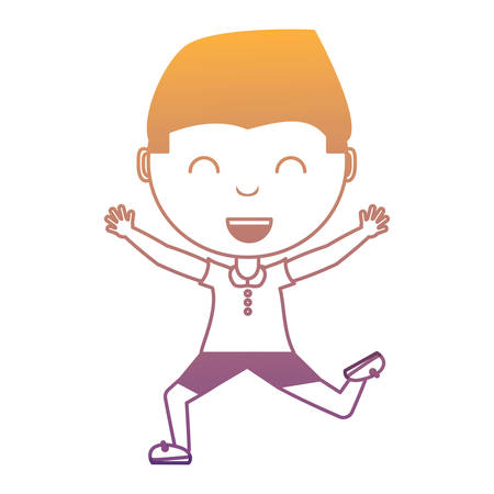 cartoon boy jumping over white background, colorful design. vector illustration