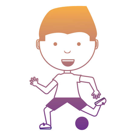 cartoon boy playing with a ball over white background, colorful design. vector illustration