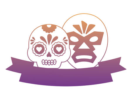 decorative ribbon with sugar skull and wrestler mask over white background, vector illustration Illustration