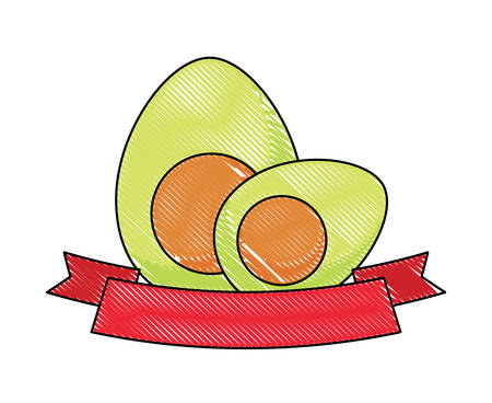 avocados and decorative ribbon over white background, vector illustration Çizim