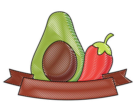 decorative ribbon with avocado and chili pepper over white background, vector illustration