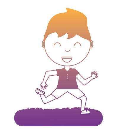 cartoon boy  over white background, vector illustration