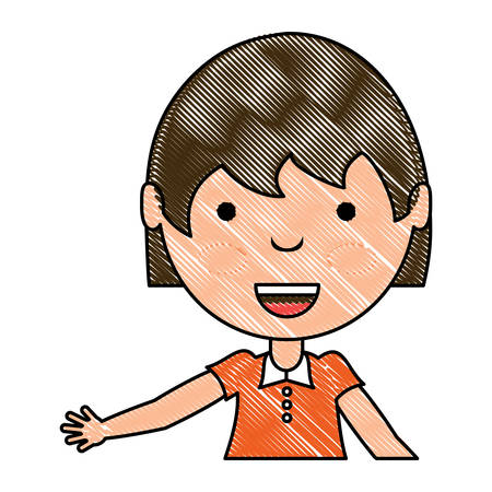 cartoon girl smiling over white background, colorful design. vector illustration