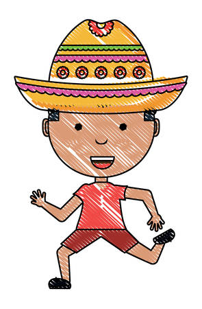 cartoon boy with mexican hat over white background, colorful design. vector illustration