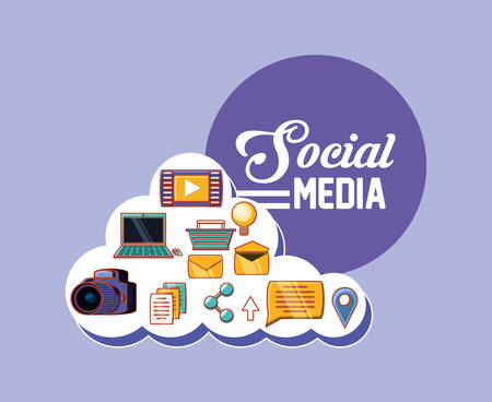 social media related icons over purple background, colorful design. vector illustration Illustration