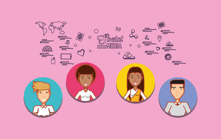 cartoon people with social media related icons over pink background, colorful design. vector illustration