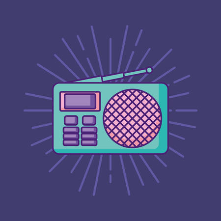 retro radio icon over purple background, colorful design. vector illustration Çizim