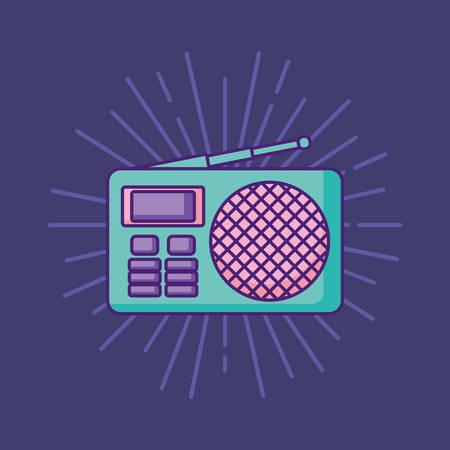 retro radio icon over purple background, colorful design. vector illustration Illustration