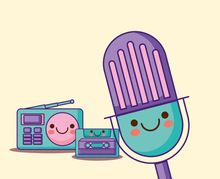 microphone with casette and radio over yellow background, colorful design. vector illustration
