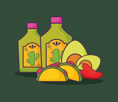 tequila bottles with mexican tacos and avocados over green background, colorful design.