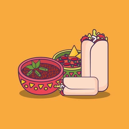 mexican burritos and sauce bowls over orange background, colorful design. vector illustration