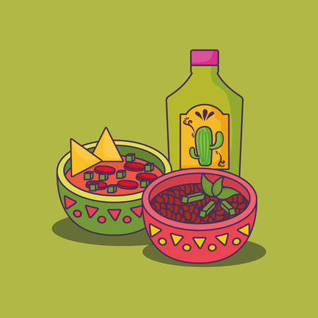 tequila bottle with mexican food over green background, colorful design.