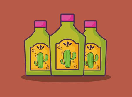 tequila bottles over orange background, colorful design.  Illustration