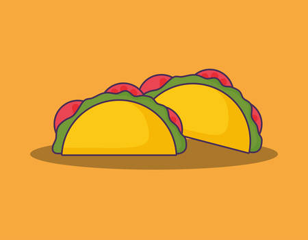 mexican tacos over orange background, colorful design. vector illustration