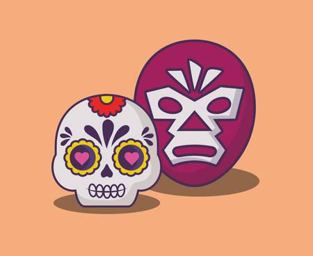 wrestler mask and sugar skull over orange background, colorful design. vector illustration