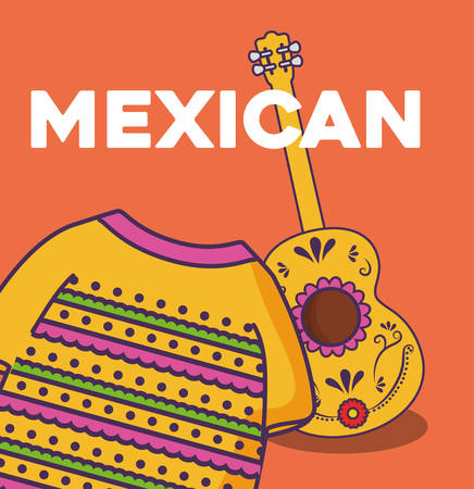 mexican culture design with guitar and mexican poncho  icon over orange background, colorful design. vector illustration Illustration