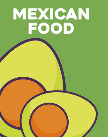 mexican food design with avocados over green background, colorful design. vector illustration