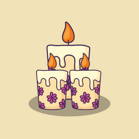 floral candles icon over background, colorful design. vector illustration
