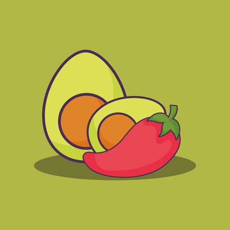 avocado and chili pepper over green background, colorful design. vector illustration