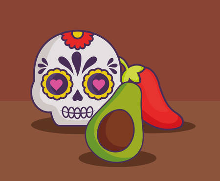 sugar skull with avocado and chili pepper over brown background, colorful design. vector illustration