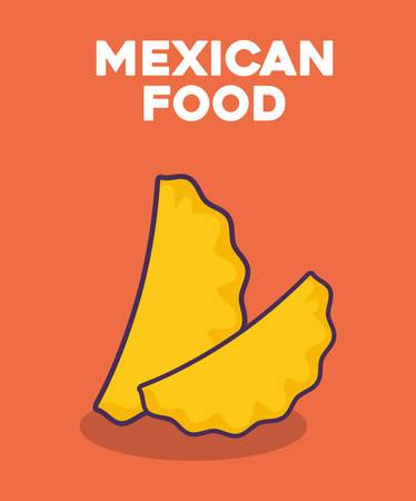 Mexican food design with empanadas icon over orange background, colorful design. vector illustration