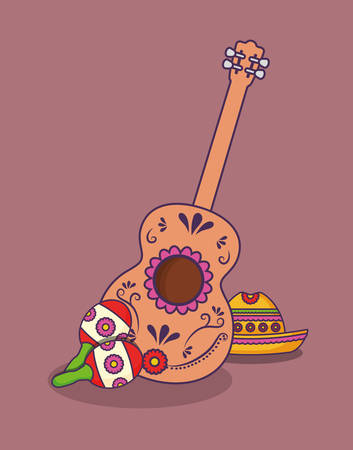 mexican culture design with guitar and maracas icon over purple background, colorful design. vector illustration