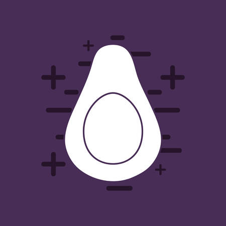 avocado over purple background, colorful line design. vector illustration Çizim