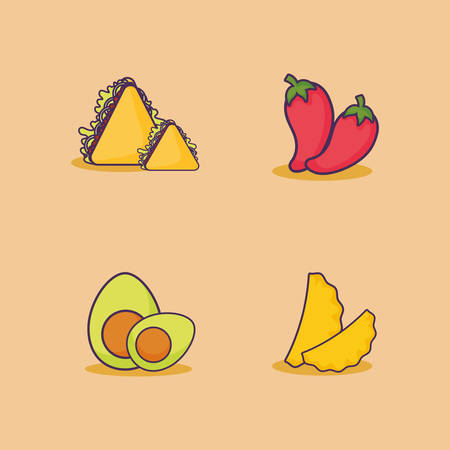 icon set of mexican food related icons over orange background, colorful design. vector illustration