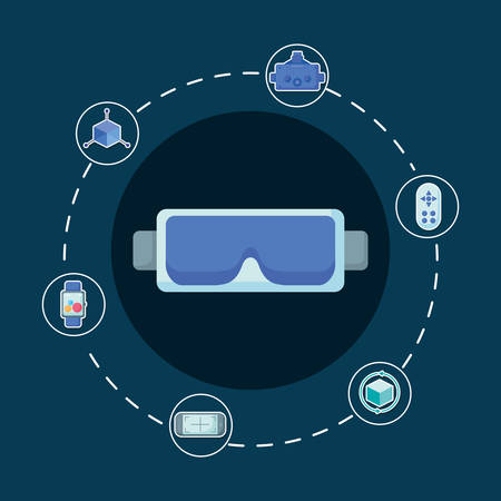 Conception de réalité virtuelle avec des lunettes vr et des icônes associées sur fond bleu, design coloré. illustration vectorielle