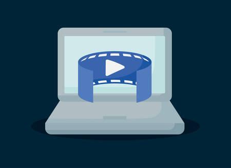 conception de réalité virtuelle avec ordinateur portable avec symbole panoramique vidéo sur fond bleu, design coloré. illustration vectorielle