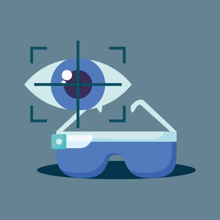 Virtual reality design with vr glasses and eye focus symbol over blue background, colorful design. vector illustration