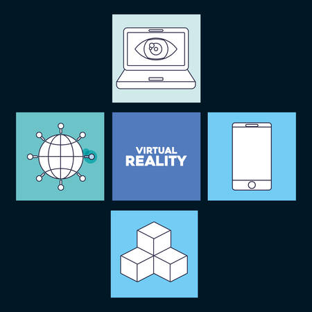icon set of virtual reality concept over colorful squares and blue background, vector illustration Illustration