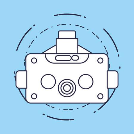 conception de réalité virtuelle avec l'icône de casque vr sur fond bleu, conception de lignes colorées. illustration vectorielle