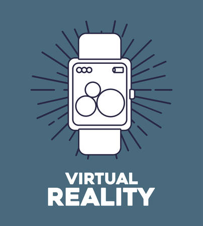 virtual reality design with smartwatch icon over blue background, colorful design. vector illustration